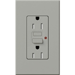 Lutron NTR-15-GFTR-GR Nova T Duplex Tamper Resistant GFCI Receptacles 15A 125V in Gray, Matte Finish (Replaced by NTR-15-GFST-GR)