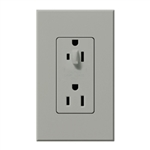 Lutron NTR-15-HDTR-GR Nova T 15A 120/125V Tamper Resistant Duplex Receptacle with Top Half Dimming in Gray, Matte Finish