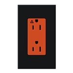 Lutron NTR-15-IG-OR-BL Nova T 15A, 125V, Isolated Ground Receptacle in Black, Matte Finish