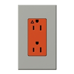 Lutron NTR-15-IG-OR-GR Nova T 15A, 125V, Isolated Ground Receptacle in Gray, Matte Finish