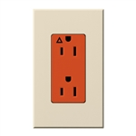 Lutron NTR-15-IG-OR-LA Nova T 15A, 125V, Isolated Ground Receptacle in Light Almond, Matte Finish