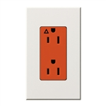 Lutron NTR-15-IG-OR-WH Nova T 15A, 125V, Isolated Ground Receptacle in White, Matte Finish