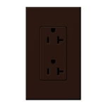 Lutron NTR-20-BR Nova T Receptacles 20A 125V in Brown, Matte Finish