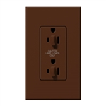 Lutron NTR-20-DDTR-SI Nova T 20A 120/125V Dual Dimming Tamper Resistant Duplex Receptacle in Sienna, Matte Finish