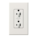 Lutron NTR-20-DDTR-WH Nova T 20A 120/125V Tamper Resistant Duplex Receptacle with Top Half Dimming in White, Matte Finish