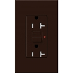 Lutron NTR-20-GFTR-BR Nova T Duplex Tamper Resistant GFCI Receptacles 20A 125V in Brown, Matte Finish (Replaced by NTR-20-GFST-BR)