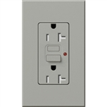 Lutron NTR-20-GFTR-GR Nova T Duplex Tamper Resistant GFCI Receptacles 20A 125V in Gray, Matte Finish (Replaced by NTR-20-GFST-GR)