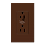 Lutron NTR-20-HDTR-SI Nova T 20A 120/125V Tamper Resistant Duplex Receptacle with Top Half Dimming in Sienna, Matte Finish