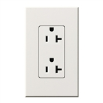 Lutron NTR-20-WH Nova T Receptacles 20A 125V in White, Matte Finish
