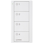 Lutron PJ2-4B-TSW-L41 Pico Wireless Control with indicator LED, RF signal, 4-Button 4-Group Toggle with Light Icon Engraving in White, Satin Color