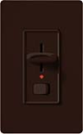 Lutron S-600PNL-BR Skylark 600W Incandescent / Halogen Single Pole Preset Dimmer with Locator Light in Brown