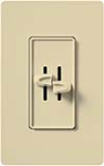 Lutron S2-L-IV Skylark 2 x 300W Incandescent / Halogen Single Pole Dual Dimmer in Ivory