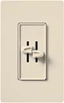 Lutron S2-L-LA Skylark 2 x 300W Incandescent / Halogen Single Pole Dual Dimmer in Light Almond