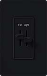 Lutron S2-LF-BL Skylark 300W & 2.5A Single Pole Incandescent / Halogen Dimmer and Fully Variable Fan Control in Black
