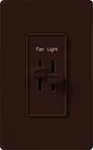 Lutron S2-LF-BR Skylark 300W & 2.5A Single Pole Incandescent / Halogen Dimmer and Fully Variable Fan Control in Brown