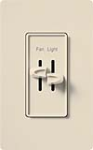 Lutron S2-LF-LA Skylark 300W & 2.5A Single Pole Incandescent / Halogen Dimmer and Fully Variable Fan Control in Light Almond