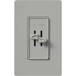 Lutron S2-LFH-GR Skylark 300W & 2.5A Single Pole Incandescent / Halogen Dimmer and Fully Variable Fan Control in Gray