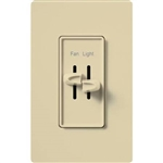 Lutron S2-LFH-IV Skylark 300W & 2.5A Single Pole Incandescent / Halogen Dimmer and Fully Variable Fan Control in Ivory