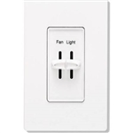Lutron S2-LFH-WH Skylark 300W & 2.5A Single Pole Incandescent / Halogen Dimmer and Fully Variable Fan Control in White