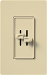 Lutron S2-LH-IV Skylark 2 x 300W Incandescent / Halogen Single Pole Dual Dimmer in Ivory