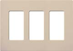 Lutron SC-3-TP Claro Satin Screwless Wallplate 3 Gang in Taupe