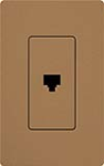 Lutron SC-PJ-TC Claro Satin Single Phone Jack in Terracotta