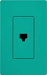 Lutron SC-PJ-TQ Claro Satin Single Phone Jack in Turquoise