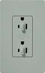 Lutron SCR-15-DDTR-BG Claro Satin Tamper Resistant 15A Duplex Receptacle for Dimming Use in Bluestone