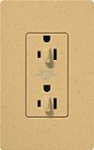 Lutron SCR-15-DDTR-GS Claro Satin Tamper Resistant 15A Duplex Receptacle for Dimming Use in Goldstone