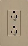 Lutron SCR-15-DDTR-MS Claro Satin Tamper Resistant 15A Duplex Receptacle for Dimming Use in Mocha Stone