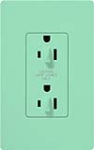 Lutron SCR-15-DDTR-SG Claro Satin Tamper Resistant 15A Duplex Receptacle for Dimming Use in Sea Glass