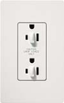 Lutron SCR-15-DDTR-SW Claro Satin Tamper Resistant 15A Duplex Receptacle for Dimming Use in Snow