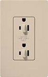 Lutron SCR-15-DDTR-TP Claro Satin Tamper Resistant 15A Duplex Receptacle for Dimming Use in Taupe
