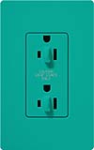 Lutron SCR-15-DDTR-TQ Claro Satin Tamper Resistant 15A Duplex Receptacle for Dimming Use in Turquoise
