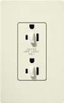 Lutron SCR-15-DFDU-BI Claro Satin 15A Duplex Receptacle for Dimming Use in Biscuit