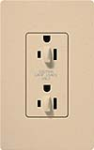 Lutron SCR-15-DFDU-DS Claro Satin 15A Duplex Receptacle for Dimming Use in Desert Stone