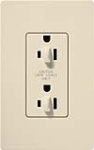 Lutron SCR-15-DFDU-ES Claro Satin 15A Duplex Receptacle for Dimming Use in Eggshell