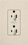 Lutron SCR-15-DFDU-LS Claro Satin 15A Duplex Receptacle for Dimming Use in Limestone