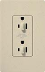 Lutron SCR-15-DFDU-ST Claro Satin 15A Duplex Receptacle for Dimming Use in Stone