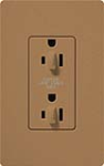 Lutron SCR-15-DFDU-TC Claro Satin 15A Duplex Receptacle for Dimming Use in Terracotta