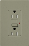 Lutron SCR-15-GFST-GB Claro Satin Self-Testing Tamper Resistant 15A GFCI Receptacle, in Greenbriar