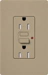 Lutron SCR-15-GFST-MS Claro Satin Self-Testing Tamper Resistant 15A GFCI Receptacle, in Mocha Stone