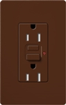 Lutron SCR-15-GFST-SI Claro Satin Self-Testing Tamper Resistant 15A GFCI Receptacle, in Sienna