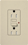 Lutron SCR-15-GFST-ST Claro Satin Self-Testing Tamper Resistant 15A GFCI Receptacle, in Stone