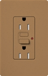Lutron SCR-15-GFST-TC Claro Satin Self-Testing Tamper Resistant 15A GFCI Receptacle, in Terracotta