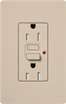 Lutron SCR-15-GFST-TP Claro Satin Self-Testing Tamper Resistant 15A GFCI Receptacle, in Taupe