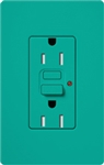 Lutron SCR-15-GFST-TQ Claro Satin Self-Testing Tamper Resistant 15A GFCI Receptacle, in Turquoise