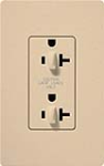 Lutron SCR-20-DDTR-DS Claro Satin Tamper Resistant 20A Duplex Receptacle for Dimming Use in Desert Stone