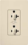 Lutron SCR-20-DDTR-ES Claro Satin Tamper Resistant 20A Duplex Receptacle for Dimming Use in Eggshell