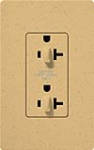 Lutron SCR-20-DDTR-GS Claro Satin Tamper Resistant 20A Duplex Receptacle for Dimming Use in Goldstone
